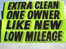 CAR DEALER AUCTION 4 doz NEW WINDOW ADVERTISE SLOGANS STICKERS green/black~2~