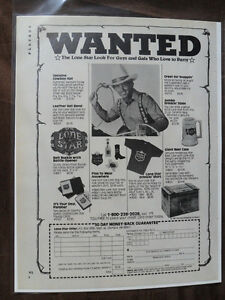1981 Print Ad LONE STAR BEER Western Cowboy Mail Order Party Accessories