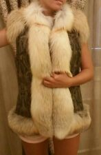 GORGEOUS Vest 100% Real multi-leather /  Fox Fur