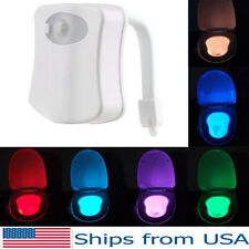 Toilet Night Light LED Motion Activated Sensor Bathroom 8 Colors Human Sensing