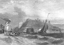 WHITBY SEAWALL PIER SAILBOATS SHIPS IN STORM WAVES ~ 1840 Art Print Engraving