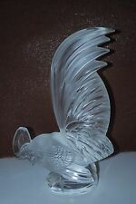 "Lalique ""COQ NAIN"" Large Crystal Rooster Paperweight Car Mascot - Signed - READ"