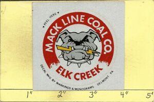 "MACK LINE COAL CO -HARD HAT-COAL MINING STICKER-DECAL ""OLD"""