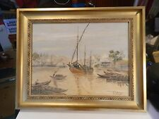 Oil on canvas Nautical scene painting signed N. A. Ardhena in a good frame