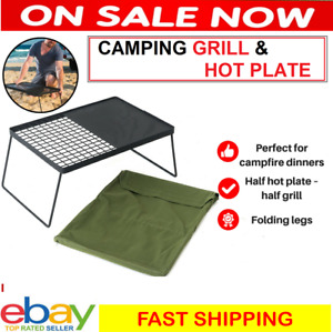 Camping BBQ Hotplate Hot Plate Cooking Half Grill Foldable Portable Camp Picnic
