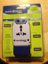 New Travel Smart Conair Multi Plug Travel Adapter With 3 Outlets And USB Port.