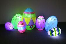 8 Foot Long Inflatable Colorful Easter Eggs LED Lights Blowup Yard Decoration