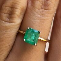 Women's Vintage Colombian Emerald Ring 14k Yellow Gold Estate Antique Size 6