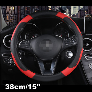 Sporty Car Steering Wheel Cover Black & Red Stitching PU leather Universal 38cm