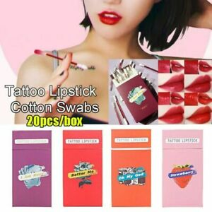 20Pc/Box Cigarette Box Design Cotton Swab Lipstick Long Lasting Waterproof Women