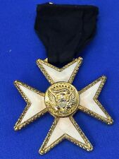 Vintage Knights Templar Masonic Mourning Medal aka Widows Medal Flat/Small Crest
