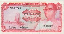 "Gambia 5 Dalasis Banknote,(1972-75) Choice Uncirculated Cond Pick#5-C""President"""