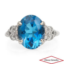 Vintage Diamond 4.83ct Blue Topaz Platinum Flower Cocktail Ring NR