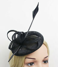 STUNNING BLACK SINAMAY FASCINATOR WITH QUILL FEATHER SPRING RACING, WEDDING,