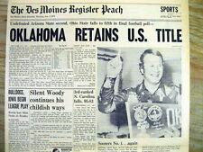 Best 1976 hdlne newspaper OKLAHOMA wins ORANGE BOWL & NCAA FOOTBALL Championship
