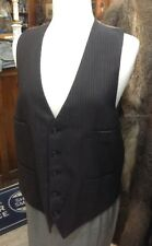 VTG 30s 40s 50s BROWN WOOL FINE PINSTRIPE VEST 4 POCKET 5 BUTTON 44