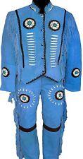 Mens/Women Native american Blue Suede Leather Suit Jacket Pants bons Bead Fringe