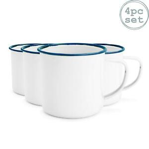 White Enamel Mugs Cups Retro Camping Outdoor Coffee Tea Mug Cup 240ml x4