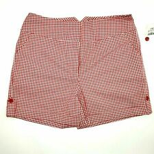 Cato Shorts Women's Size 14 Red White Checkered Plaid NEW