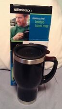New listing Emerson 14 fl oz. Stainless Steel Heated Travel Mug 12V Auto Power Adapter