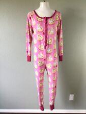 Nite Nite Munki Munki Womens Pajamas One Piece Union Suit Waffle Hearts Size M