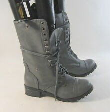 "new Gray 1.5"" Low Heel R Lace Up Round Toe Sexy Combat Ankle Boots Size 6"