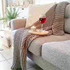 Large Grey Chunky Knit Throw Blanket 1.25m X 1.5m - Bed /  Lounge Home Living
