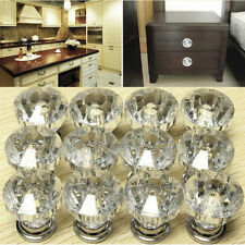 12PC Crystal Diamond Round Cabinet Faceted Cut Glass Cupboard Door Knobs Handles