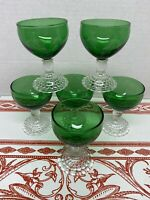 Mint Set Of 6 Anchor Hocking Forest Green Boopie  Stems Cordial Wine Goblets