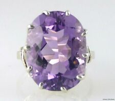 Geniune Large Oval Amethyst Ring, Scroll Design .925 SS Silver 18.24CTS 20X15mm
