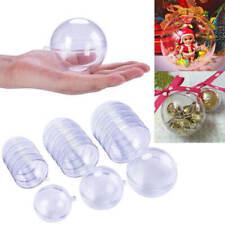 15Pcs plástico claro transparente bola abierta Bauble Adornos Navidad Decoración Hazlo tú mismo