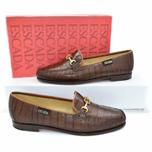 Escada Dark Brown Signature Croc Embossed Leather Moccasins Loafers sz 9