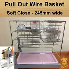 Soft Close Pull Out Pantry Organiser Kitchen Cabinet Storage Wire Basket 245mm