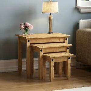 Corona Nest Of 3 Tables Distressed Mexican Solid Waxed Pine New By Home Discount