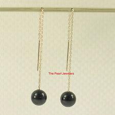 14k Yellow Solid Gold Threader Chain 8-8.5mm Bead Black Onyx Dangle Earrings TPJ