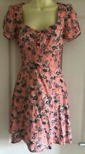 Miss Selfridge Coral Pink Floral Dress Size 8