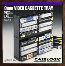 Case Logic 8mm or VHS-C Video Cassette Tray Black Media Storage Model T-16 NIB