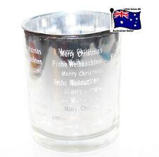Merry Christmas glass VOTIVE HOLDER ~ FLICKERING Silver ~