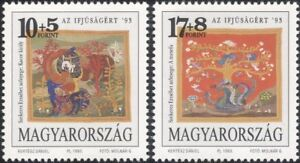 Hungary 1993 Tapestry/Weaving/Embroidery/Animals/Rabbit/Bear/Fox 2v set (n46107)