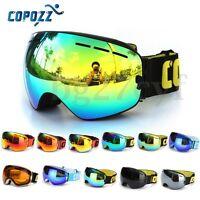 COPOZZ Dual-layer Spherical Lens Snowboard Goggles UV400 Anti-fog Skiing Glasses