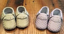 Baby Girls Crib Shoes Ivory/gold Pink/gold Polka Dot 0-3 Months Set Of 2