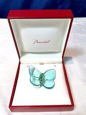 Baccarat Crystal Brooch Papillon Light Blue - Broche Spilla Azzurra e Oro NEW