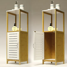 Furano   Freestanding Bathroom Cabinet / Cupboard / Storage Unit   Bamboo/White