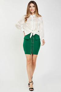 Ladies/Womens  Green Lace up Front  Zip Back Bodycon Mini Skirt. Size 8 - 12
