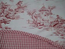Country Curtains Red Pink Cream 2 Layer Scalloped Toile & Gingham Check Valance