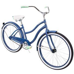 "Huffy 26"" Cranbrook Womens Beach Cruiser Bike Perfect Fit Frame Blue White New"