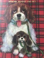Vintage Fathers Day Card Plaid Dog Puppy Leash Spaniel
