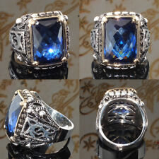 Fashion Men's Women 925 Silver Huge Blue Sapphire Ring Wedding Jewelry Size 6-10