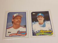 1989 Topps Randy Johnson RC # 647 & Traded #57T Expos/Mariners Lot of 2