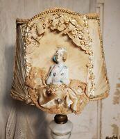 Gorgeous Petite Antique Boudoir Lamp Shade with Porcelain Half Figurine